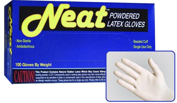 Neat Lightly Powdered Industrial Grade Latex Gloves