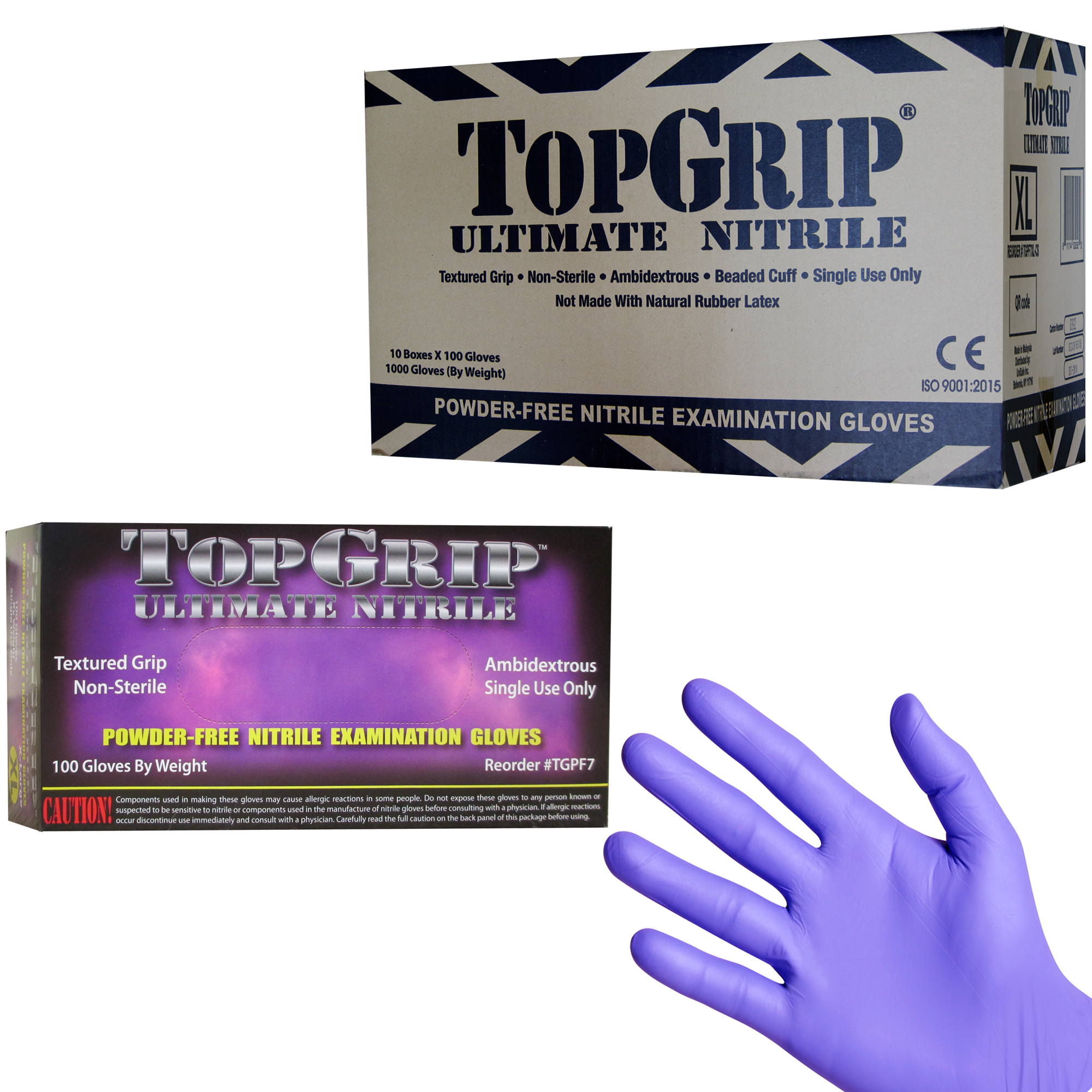 1000 7.5 Mil TopGrip Heavy Duty Nitrile Exam Gloves, Disposable, Textured, Rubber, Small, Medium, La