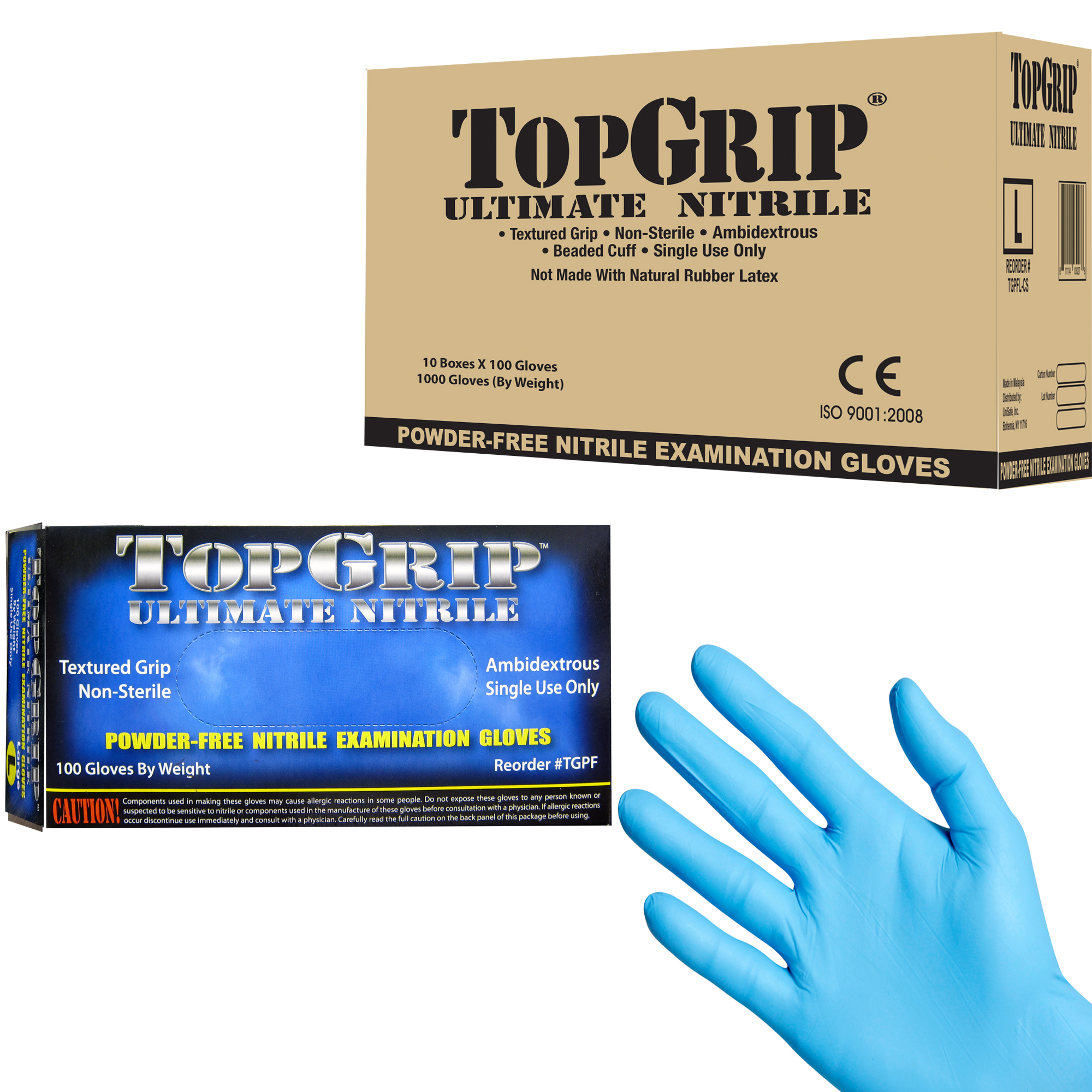 7.5 Mil Thick Large Case of 1000 Gloves TopGrip Heavy-Duty Powder Free Nitrile Exam Gloves