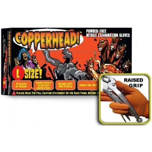 Copperhead Heavy Duty Powder Free Orange Nitrile Exam Gloves w/Tactical Grip, Case