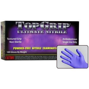 TopGrip Heavy-Duty Powder Free Nitrile Exam Gloves, Case